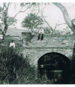The original stone Anacotilla Bridge 1896. with Kelly family, Fanny, Edgar, Garnet