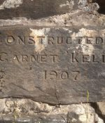 Engraved commemorative stone Constructed by Garnet Kelly 1907