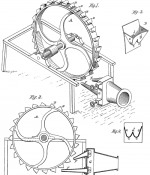 Drawing of the patent of the Pelton turbine wheel