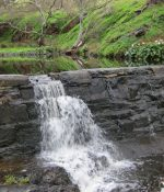 Water flowing over stone weir