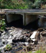 Winter water flows under the bridge